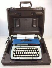 Vintage Smith-Corona Classic 12  Portable Dark Blue Typewriter w/ Brown Case