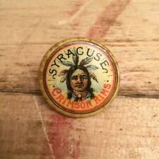 Antique 1890s / 1900s Bicycle Stud Button Pin SYRACUSE CRIMSON RIMS Indian Chief
