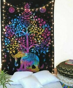 TWIN TIE DYE ELEPHANT TREE TAPESTRY ETHNIC COTTON BEDSHEET THROW WALL HANGING
