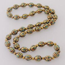 "Coral Turquoise 40 Beads Strand Necklace 24"" Brass Handmade Tibet Nepal N2325"