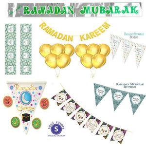 Ramadan Mubarak Decorations  Banner Foil Balloons Flags Bunting, Islamic Gift
