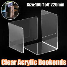2 Pcs Clear Acrylic Book End Shelf Stand Bookend Organiser Stand Office