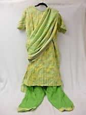 HANDCRAFTED GREEN EMBROIDERED PAKISTANI SALWAR KAMEEZ OUTFIT BUST 42  PANTS L