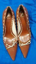 JV J Vincent Saddle Brown Leather Heels Size 8M Wmns Jaqueline Bow Pointed Toe