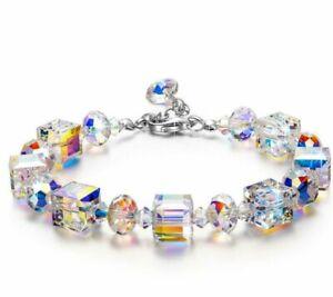 Aurora Borealis Bracelet Made with Round Crystals 18K White Gold
