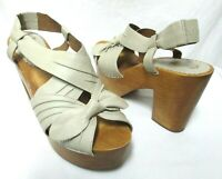 Miss Albright Anthropologie leather Wood Clog Sandals w/Bow platform Size Sz 9