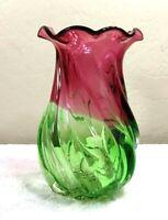 Vintage Spiral Green to Cranberry Color Glass Vase