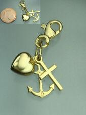 8Kt. 333 Gold Trilogie Anhänger mit Karabiner Charm Herz Anker und Kreuz  NEU