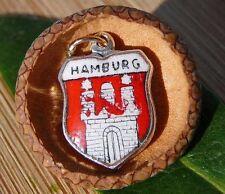 VINTAGE 800 SILVER enamel HAMBURG Germany shield CHARM (C-188)