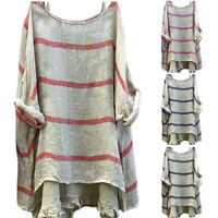 Women Casual Striped Blouse Long Sleeve Baggy Oversized Loose T Shirt Tee Tops