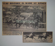 HORSE RACING Turf History Is Made At Epsom New Photo Finish 1947 News Clipping