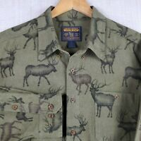 WOOLRICH 2XL Mens Thick Flannel Olive Button Down Lodge Shirt Deer Hunting XXL