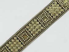 """01yd Embroidered Trim 02"""" wide ( Woven Border Sew Jacquard Ribbon ) T342"""