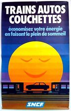 L'ARRIER  - TRAINS – AUTOS – COUCHETTES - SNCF – AFFICHE ORIGINALE – CIRCA 1980
