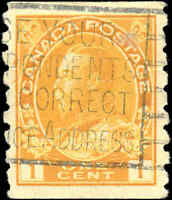 Canada Used 1c 1923 VF Scott #126d Coil KGV Admiral Stamp