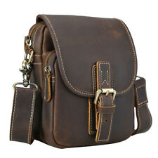 Men's Leather Small Shoulder Sling Bag Waist Belt Bag Fanny Pack Sports Running