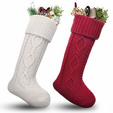 "Christmas Stockings 2 White Red Large 20"" Cable Knit Fireplace Decor Holiday New"