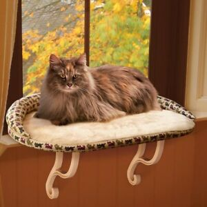K&H Deluxe Kitty Sill Fleece Covered Window Ledge Bed for Cat Kitten Luxury
