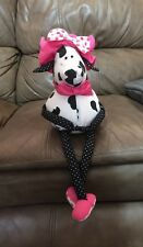 "RUSS BERRIE COW Stuffed Cotton Cute Pink Hat Bow Sitting 8"" +"