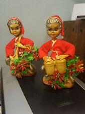 Vintage Golden Pixie Musical Elf Figurines Set Of 2