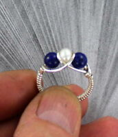 Lapis Lazuli Gemstone and Pearl Ring in Sterling Silver  bead ring