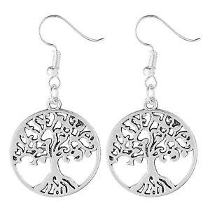 Tree of Life Earrings Tibetan Silver 1 Pair