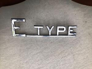 E-Type Original Chrome Metal Boot Trunk Badge Jaguar Series 1  2  3 1961-1975