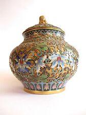 Ancianos Cloisonne deckelpokal jarrón de hong kong-china