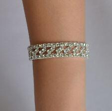 Fashion Elegant Silver Plated Crystal Rhinestone Bracelet Elastic Bangle Wedding