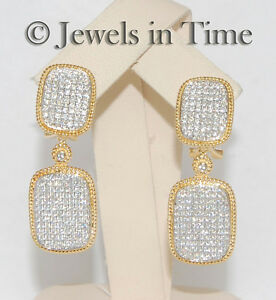 1.51 Carat Pave Diamond Earrings in 18k Yellow & White Gold