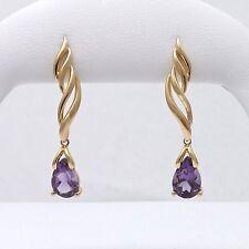 NEW 14K Gold 2.5 ctw Natural Amethyst Drop Dangle Earrings