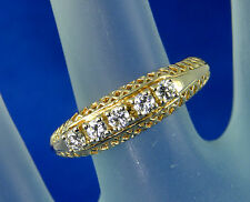 1/4 of 1 Carat Diamond Ring - 5 diamonds in Antique styled 14kt Yellow Gold