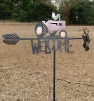 Rooster Tractor Yard Stake Welcome Sign Rustic Metal Garden Yard Outdoor Decor