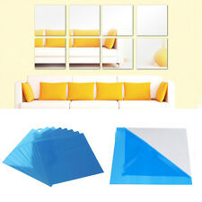 3pcs Square Mirror Tile Wall Stickers 3d Decal Mosaic Home Garden Decors DIY Hot