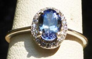 7x5 Montana Sapphire Cornflower Diamond Pave HALO VS AUTHENTIC sz.8 silver ring