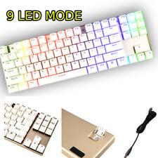 Computer Desktop Gaming Keyboard Clicky Mechanical Feel Led Light Backlit White