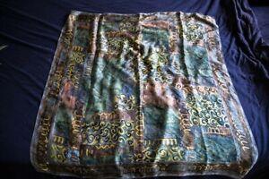 Square grey multicolour Tie Rack Silk scarf 100% silk
