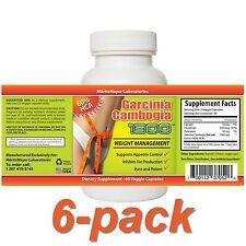 6 Garcinia Cambogia 1300 Extracts 6x60 Capsules Plus 60% HCA Weight Loss Formula