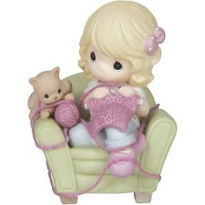 Precious Moments 'We All Needle Little Love' Girl On Chair With Kitten 144014