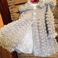 Baby girl MONSSON dress,Handmade crochet hooded coat, FREE shoes -SILVER 6-12mth