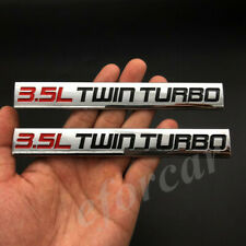 Red Black 2Pcs Chrome Finish Metal Emblem 3.5L Twin Turbo Badge decal sticker