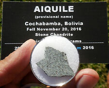 """1st on eBay!  2.83g  """"Aiquile"""" Meteorite slice from Nov 20, 2016 fall in Bolivia"""