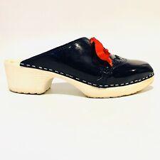 Troentorp Blue Shiny Clogs Red Ribbon Accent Swedish Shoes Women SZ 40 EU 9.5 US