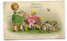 AK Fröhliche Ostern Ostereier Wagen mit Hasen und Kind 1927