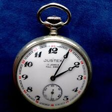 """"""" JUSTEX """" - Pocketwatch with Sowjetischem molnija-uhrwerk (eisenbahner-motiv)"""