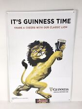 Guinness Draught Irish Stout Lion Cheers Metal Beer Sign 19x14� - New See Desc