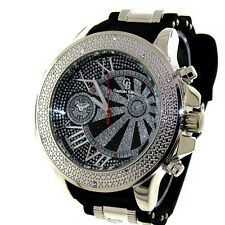 MENS ICED OUT SILVER/BLACK CAPTAIN BLING ICE NATION HIP HOP BULLET BAND WATCH