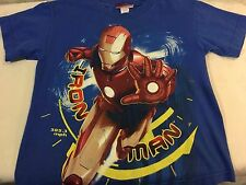 IRON MAN GRAPHIC GLITTER T-SHIRT  YOUTH  SIZE L 10-12 BLUE BY MARVEL       B1x