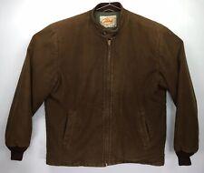 Vintage 1950s LAKELAND Car Club Rockabilly Jacket Coat Size 42 Brown Clicker