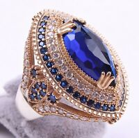 Turkish Handmade LUXURY 925 Silver Sapphire Stone Ladies Woman Ring ALL SİZE US